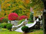 fall foliage on the historic 30 acre Wilburton Inn estate where house is located.