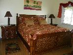 Tropical Bedroom with king size bed-sleep great on the Stern & Foster Matress