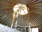 Yurt roof, with removable top, you can star gaze from your own bed..