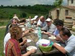 in July and August we organize dinners with all the guests