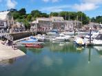 Charming village of Padstow -  famous 'Obby 'Oss, fish and chips. Port Isaac for Doc Marti