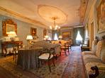 Stunning drawing room on the first floor with 19th century frescoes