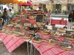 Weekly village market to sample local produce