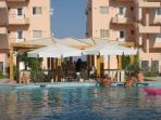 Pool Bar, just swim up and enjoy a cooling drink. Open daily for food and drinks plus BBQs in summer