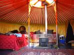 Inside Yurt with Crown Wheel