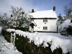 Moorland View Cottage in the snow.