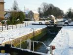 The lock on the canal, 2 minutes walk from cottage