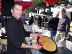 Gilles with his famous Socca in the Beaulieu Saturday market...this is a local 'must try'