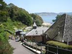 Lyme Regis, terraced gardens towards the lovely SANDY BEACH, ROCK POOLS, AND AMAZING FOSSILS