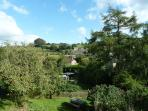 View from Orchard Cottage of Broadwindsor, the pretty 12 century church and surrounding countryside