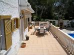 Terrace with large seating/dining area