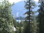 Views of the lake through the trees from Alpine Chalet
