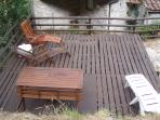 Our relaxing sun deck with recliners, picnic table and gas bar-b-que