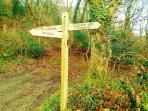 Public foot pass via country lane and ancient woodlands  to MILLOOK BAY.