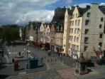 View from apartment of the Grassmarket and Edinburgh Castle