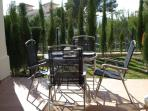 Private garden which is furnished