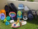 some of our kids' gear in one of the gardens