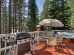 Grill up some BBQ, or just soak up the Tahoe sunshine, on this spacious back deck.