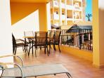 Huge terrace with sunbed deck with sunshine from early morning till late evening.