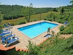 Tuscan villa with 6 bedrooms and private pool, brilliant views of Chianti hills, perfectly located for exploring the area