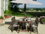 Lunch on the Terrace with beautiful views over the fields.