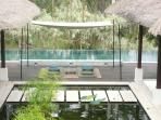 Pool deck with day-canopy set up