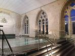 Indoor pool, sauna and steam room in the converted chapel