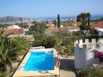 View over the pool and Benidorm to the Mediterranean Sea
