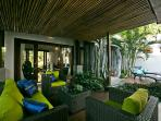 Covered outdoor lounge.