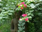 A statue of buddha in the garden