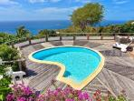 Sunset facing villa Taniko with covered terrace, pool & daily housekeeping