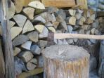 Chop wood for the front room stove, kitchen stove and garden fire pit.