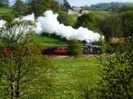 North York Moors Steam Railway goes past four times a day in the summer