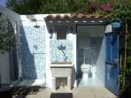 Our open air shower! A real wonder after a day in the sunshine!
