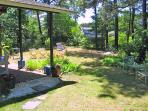 covered patio area and yard, The Pine Suite, Cottage Guest, Eastham, MA, Cape Cod