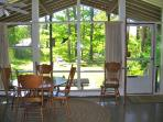 indoor/outdoor effect, view over the private yard, The Pine Suite, Cottage Guest, Eastham, MA