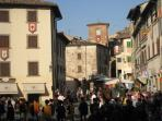 Anghiari Palio view 2-a historic pageant in the town square