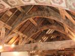 The amazing roof structure showing the ancient Tudor Rose painted ceiling.