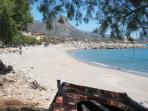 The sandy beach 5 mins away next to the local harbour