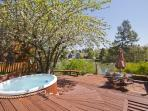 Hot tub with Deschutes river views on terraced deck, private river access