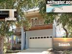 Contemporary newer house with salt water heated pool, piano, 200 yards from the beach