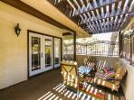 Covered Patio w/ French doors from the Living Room & Breakfast Room