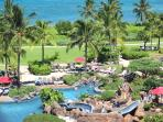 Looking down from the lanai towards the pools and you will see most of the pools, water slide and lazy river.