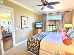 Large master bedroom with King size bed and LG Flatscreen TV.