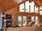 Two Story Log Cabin w/Hot Tub and Mountain View