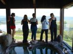 Girls weekend by our natural rock grotto in the Bella Vista Sun Room