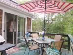 Deck conveniently located of kitchen/ dining area with gas grill - 122 Tracy Lane Brewster Cape Cod New England...