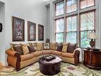 Elegantly appointed living room with Tahitian sectional sofa for your relaxation
