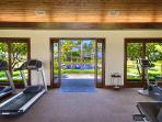 Fitness centre view out to the lap pool