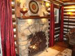 Stone Fireplace with remote controlled gas logs for easy use